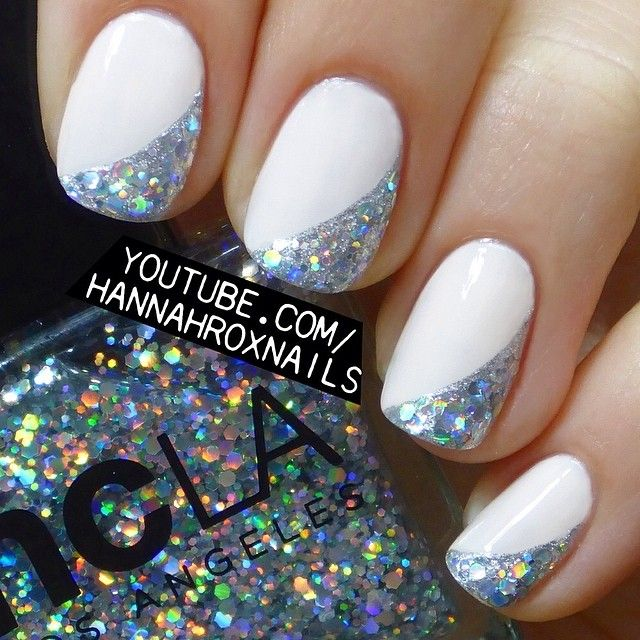 White And Silver For Prom Nail Ideas: White Nails With Silver Glitter Beautiful! #nail #nails