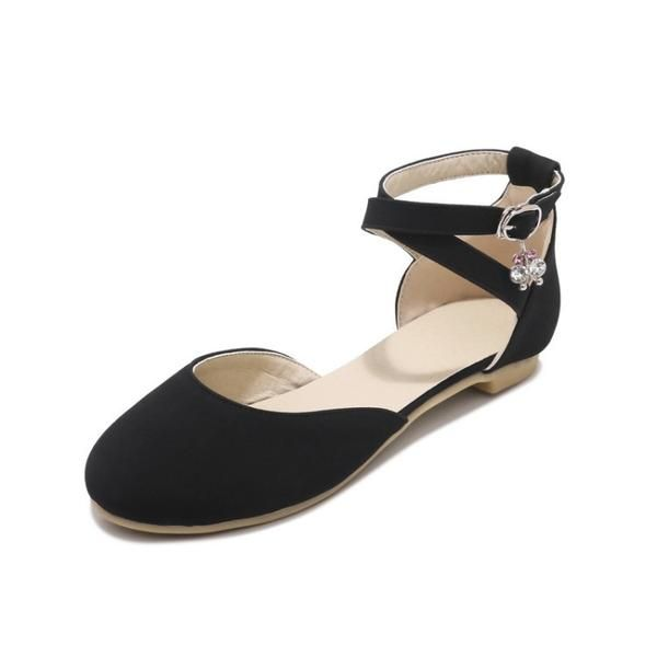 Women Ankle Straps Pearl Flat Sandals Shoes 2085   Ankle