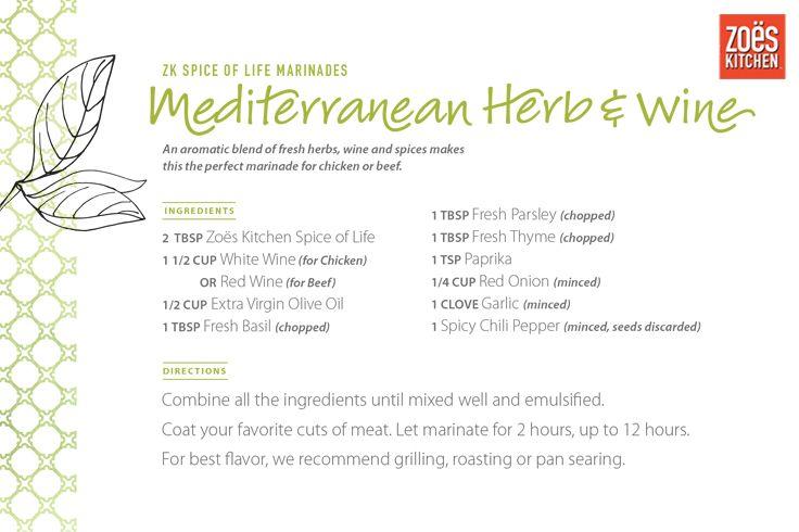 Zoës Kitchen Spice of Life Mediterranean Marinade: Herb & Wine