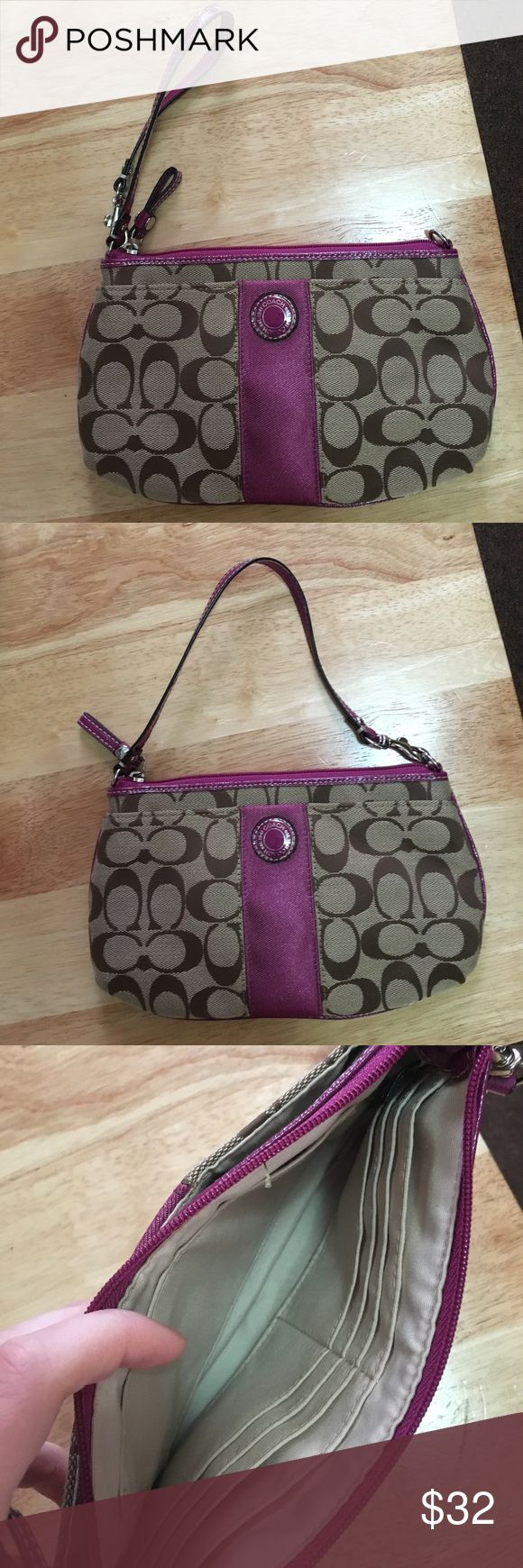 Coach wristlet with adjustable strap Only used a few times. 9 inches by 6 inches. Strap is 6.5 inches when used as a clutch. Body is your typical coach tan color and the purple/pink accents are a very smooth material. Wristlet part is patent leather. Perfect for a night out or even just to hold important papers when you're traveling! Very few to no signs of wear. Zipper closes the larger cavity of the bag, a smaller, open pocket is on the front. Coach Bags Clutches & Wristlets