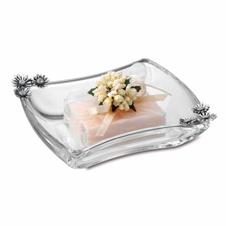 Porta oggetti piattino in cristallo con decorazioni floreali Daisy - Crystal Centrepiece with floreal garnish
