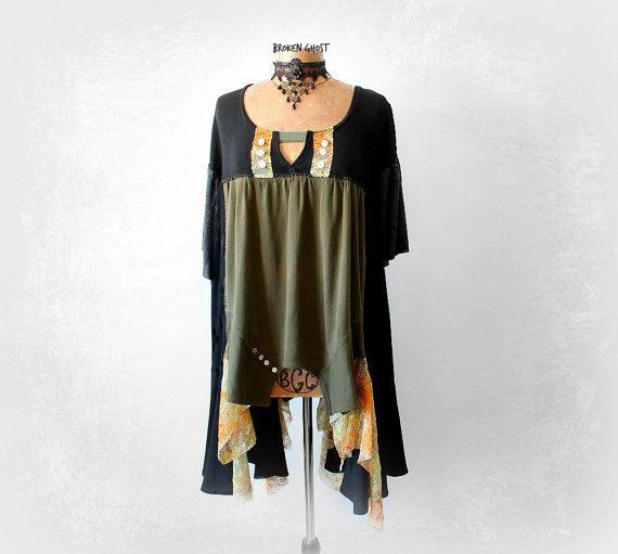 Boho Plus Size Stevie Nicks Shirt Long Black Tunic Shabby Chic Clothing Bohemian Chic Women Lagenlook Top Hippie Festival Wear 2X 3X 'ALANA'
