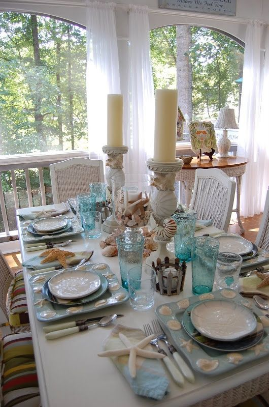 Shabby Chic Tablescapes | Classy Clutter / Shabby Chic / Beach Tablescape...