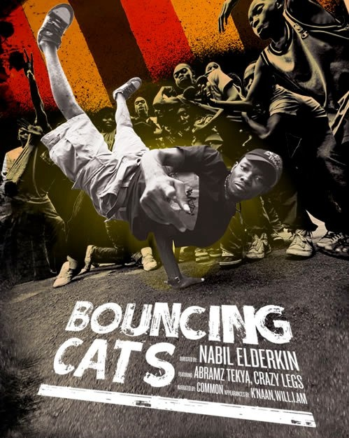"""Bouncing Cats is the inspiring story of one man's attempt to create a better life for the children of Uganda using the unlikely tool of hip-hop with a focus on b-boy culture and breakdance. In 2006, Abraham """"Abramz"""" Tekya, a Ugandan b-boy and A.I.D.S. oprhan created Breakdance Project Uganda (B.P.U.). The dream was to establish a free workshop that would empower, rehabilitate and heal the community by teaching youth about b-boy culture."""