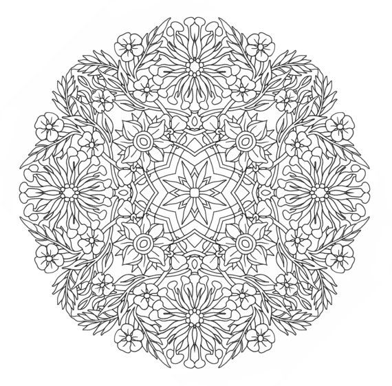 Printable Coloring Page Honey Suckle Mandala Door Emerlyearts