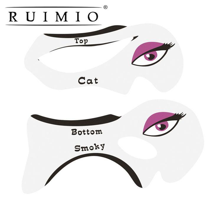 Par de Smokey Modelo Stencil Template Stencil Olho Maquiagem Profissional Eye Liner Delineador Ajudante Shaper Template Stamping Ferramenta