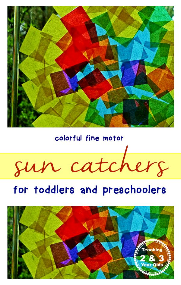 Colorful window art for toddlers and preschoolers from Teaching 2 and 3 Year Olds