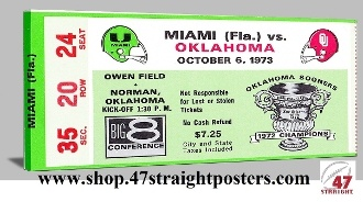 Football Art. 1973 OU Football. In Barry Switzer's first season, the Sooners beat Miami in Norman. Trailing 20-14, Steve Davis threw a 52 yard touchdown pass to Tinker Owens giving Oklahoma the lead. Great college football art for a game room or office. #47straight #collegefootball #art 1973 OU Sooners, OU football 1973, Oklahoma football tickets, OU football tickets, College football art, Steve Davis, Barry Switzer, Best Fathers Day Gifts 2013, Mobile gift shopping, canvas football art