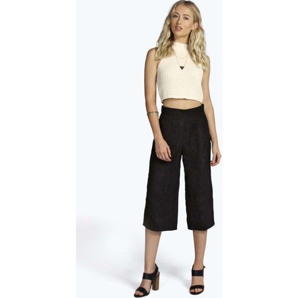 Boohoo Laura Faux Suede culotte ($14) ❤ liked on Polyvore featuring pants, capris, black, black sequin pants, party pants, sequin pants, black cropped trousers and black trousers
