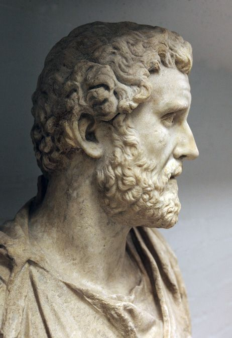 Roman marble bust of Antoninus Pius.  Antoninus Pius was born in 86 AD and died in 161 AD. He was Roman Emperor from 138 AD through to his death, and was happily married to Faustina the Elder. Together they bore four children (two sons and two daughters); one of the daughters was Faustina the Younger, who went on to marry emperor Marcus Aurelius, who succeeded Antoninus' title