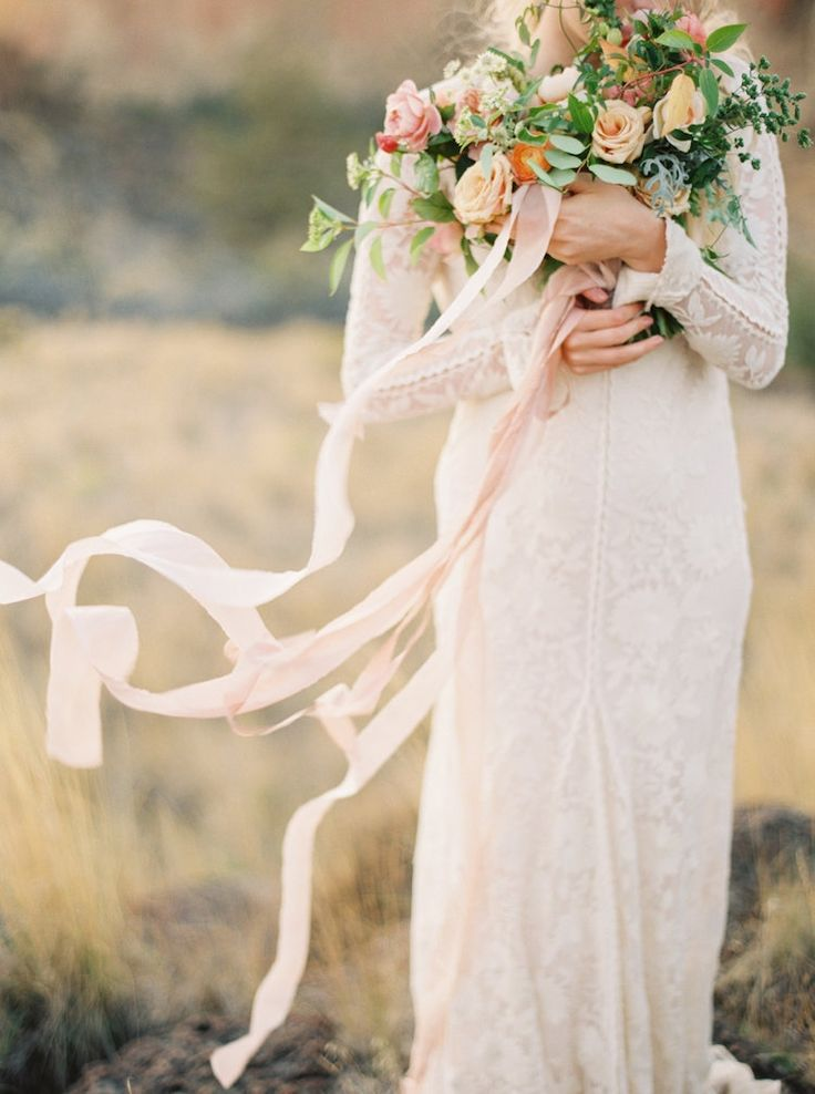 Ginny Au | Bouquet with Long Ribbons by Ashley Beyer