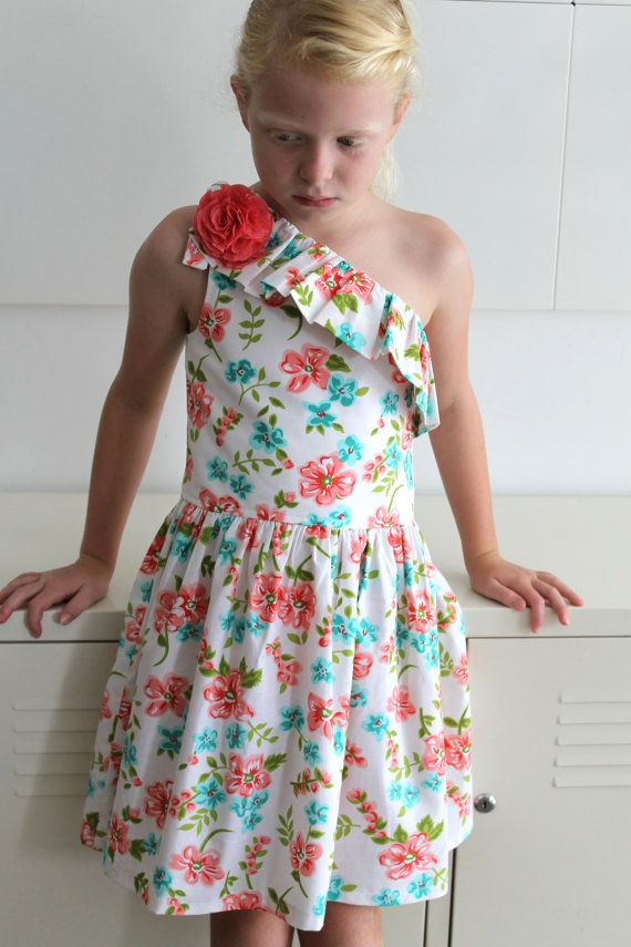 Summer Floral Asymetric Dress by HullabalooKids on Etsy, $38.00