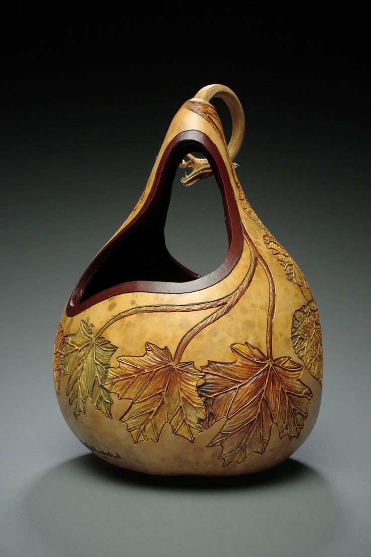 Intricately carved gourd for fall