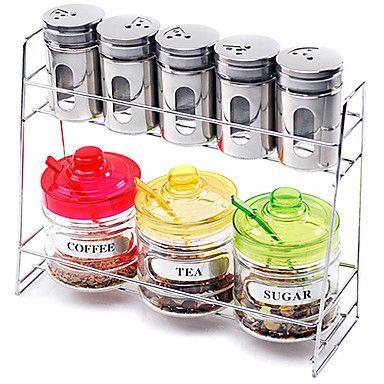 Cozinha Vidro Galheta Set (Conjunto de 9: 1pc Rack, 5pcs Shaker, 1pc Pot Açúcar, 1pc Coffee & Pot Pot chá 1pc com colher e tampa) - BRL R$ 160,20