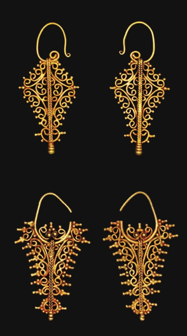 Indonesia ~ Tanimbar, Southeast Maluku | Openwork filigree earrings ~ 'kmwene' ~ gold | 18th - 19th century | Source: 'Gold Jewellery of the Indonesian Archipelago', page 81