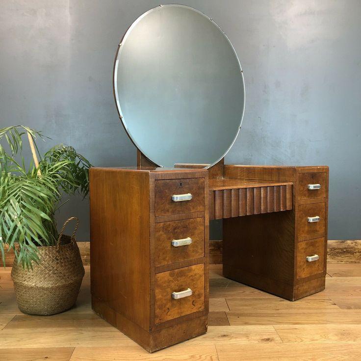 Art deco dressing table drawers pedestal burr walnut
