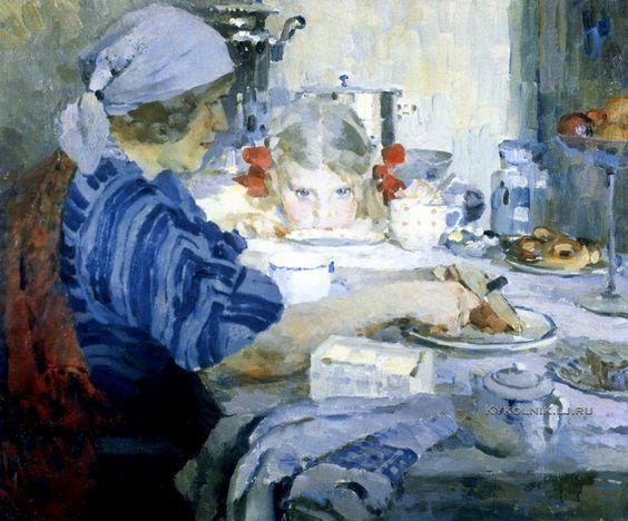 Котов Петр Иванович (1889-1953) «Завтрак. Моя семья» 1937: