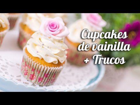 Cupcake de vainilla + trucos para cupcakes perfectos - YouTube