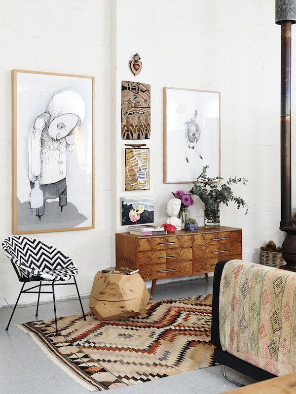 Carla Fletcher & Brett Langsford Melbourne loft - neutrals make the pattern mix not too overwhelming