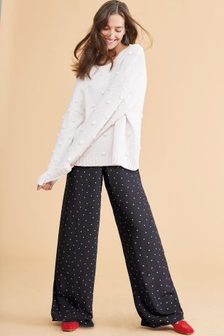 Buy Black Heart Print Wide Leg Trousers from the Next UK online shop