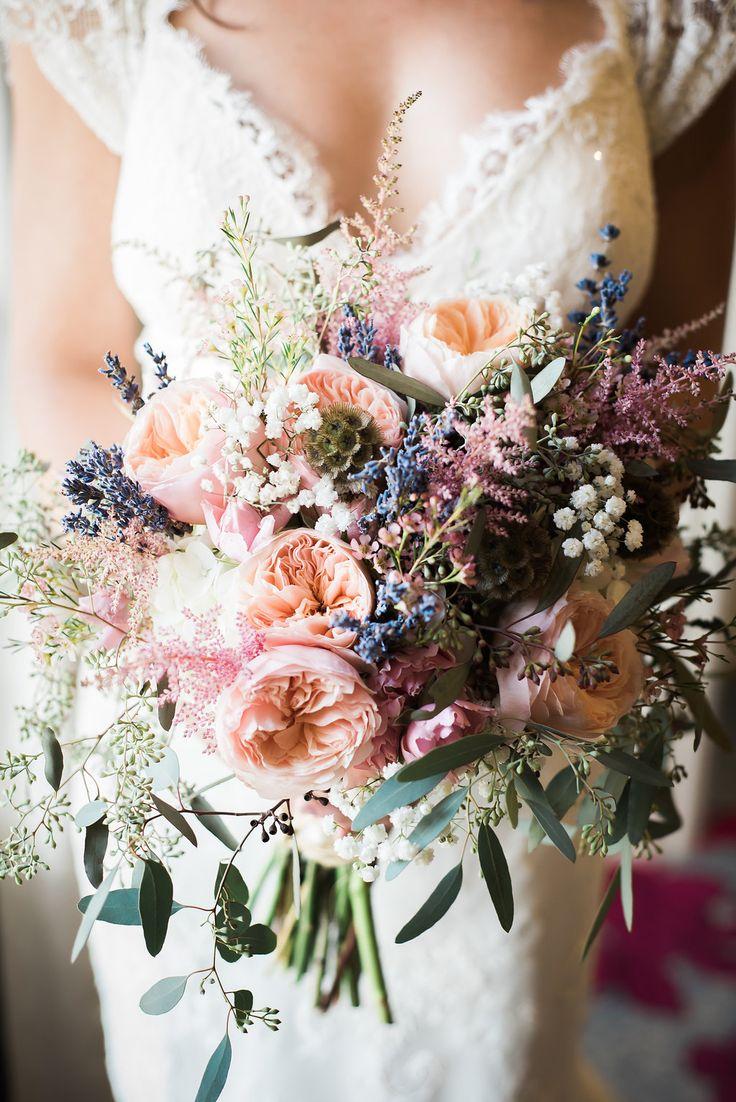 Blush pink pastel wildflower bridal bouquet | Anna Campbell Bride | Eloise Dress