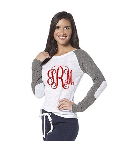 Monogram Baseball Tee ~ Preppy Patch Baseball Tee ~ Custom Baseball Tee ~ Three Letter Monogram ~ Monogram Shirt ~ Ladies Monogram ~ by CutFromTheHeart on Etsy