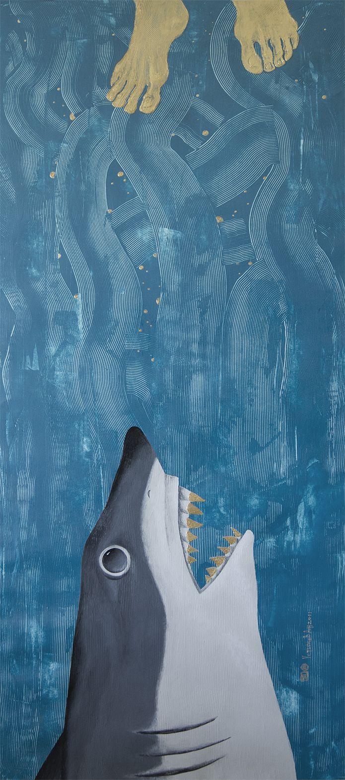 Shark Series -Food Chain- 140x60 cm paper,acryl