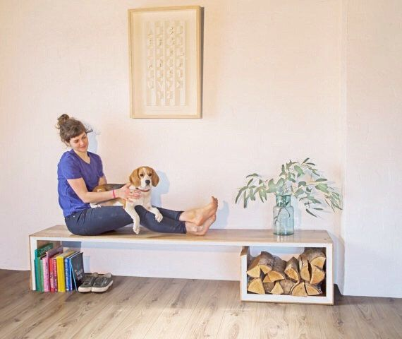Idea para el cuarto del patio!  Scandinavian Bench. Solid oak bench with wood by MatHibbertDesigns