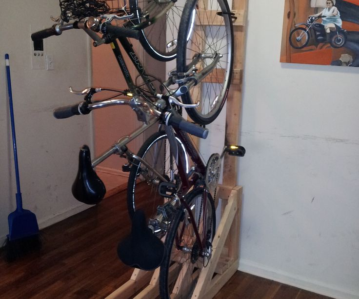 Best 25 vertical bike rack ideas on pinterest bike storage i recently built a vertical bike rack from scraps of 2x4s leftover from another project solutioingenieria Images