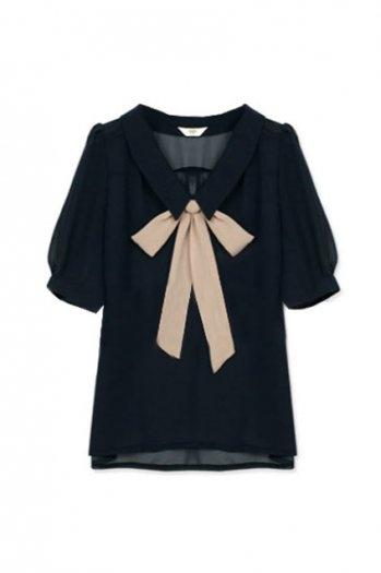 Black and beige: Bowknot Navy, Fashion, Bows Ties, Clothing, Bows Blouses, Bows Shirts, Navy Blue Shirts, Bows Tops, Feminine Bowknot