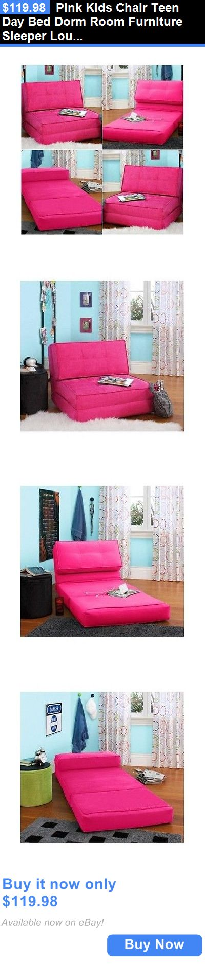 Kids Furniture: Pink Kids Chair Teen Day Bed Dorm Room Furniture Sleeper Lounge Mattress Bedroom BUY IT NOW ONLY: $119.98