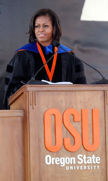 Where: Delivering the commencement address to Oregon State University graduates in Corvallis, Oregon.