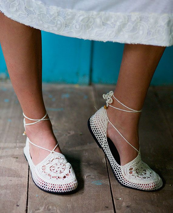 Luludu Ethically made hand crocheted shoes - White