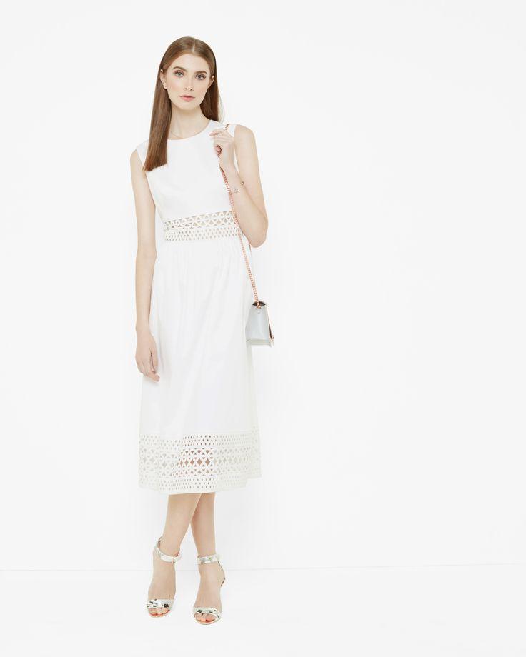 Cut work midi dress - White | Outlet | Ted Baker UK