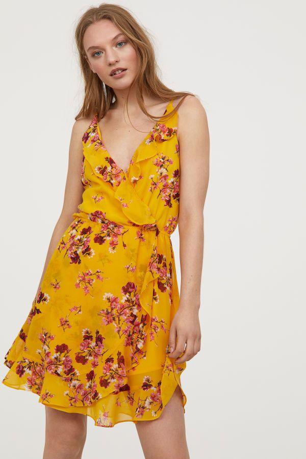 165aa1ab Short Flounced Dress   Yellow/floral   WOMEN   H&M US   lady ...