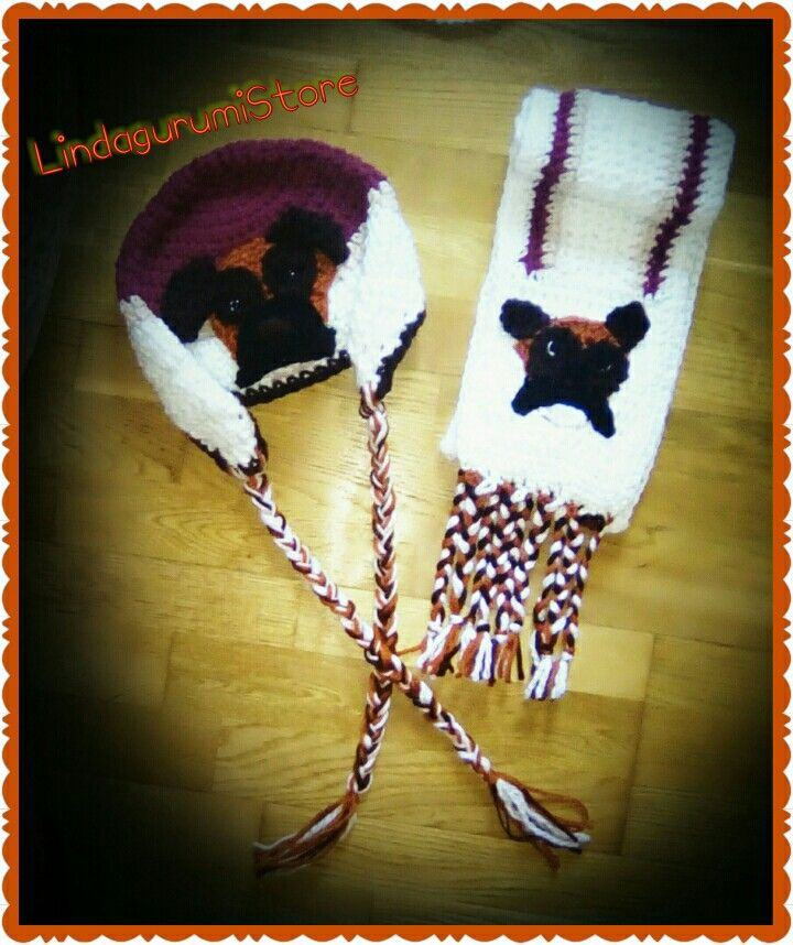 Crochet handmade Boxer Dog Hat and Scarf Set by LindagurumiStore #boxer #dog #crochet #boxerhat #boxerscarf #lindagurumistore