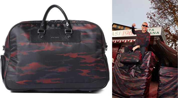 DJ Mazay is one of the selected influencers who present the 'Diesel X AC Milan' capsule collection with the football team's Rossoneri Devil inspired red-black camo-fire print... The design of the weekender (made of nylon and leather with camo-fire print) remembers the AC Milan players' sports bags of the 1970s. The 'Diesel X AC Milan' capsule collection is available since mid-January 2018...
