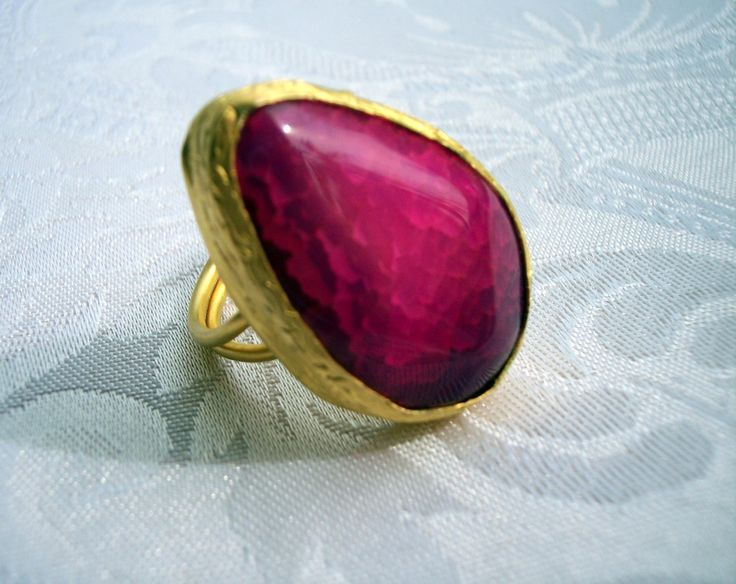 Handmade dark pink with tear drop shape agate ring gold plated semiprecious gemstone, jewelry and balance by GardenOfLinda on Etsy