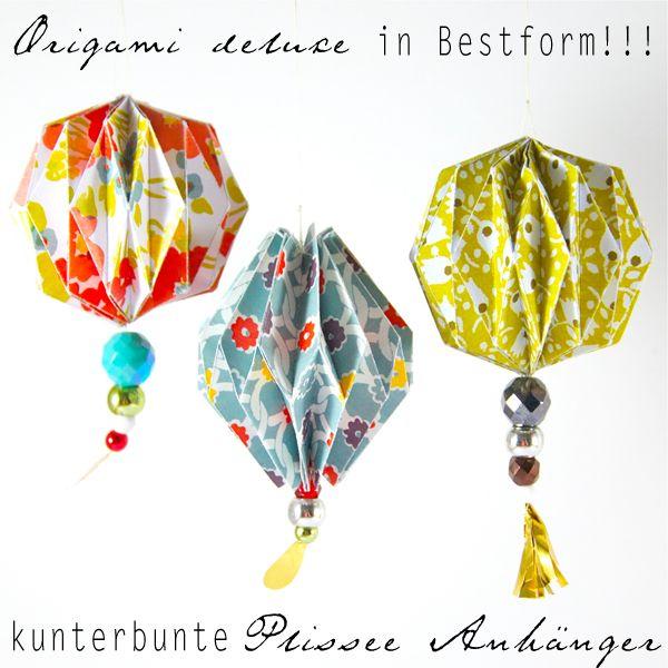 origami Christmas ornament German kunterbunte Plissee Anhänger