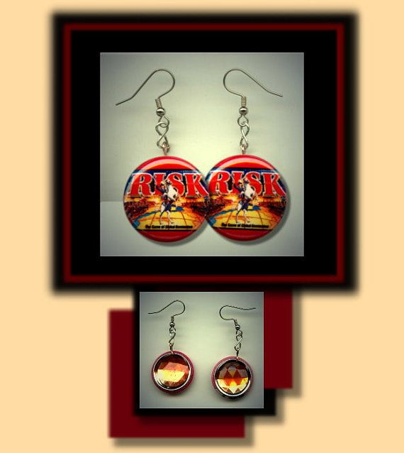 RISK vintage board game Altered Art Dangle Earrings by Yesware, $10.00