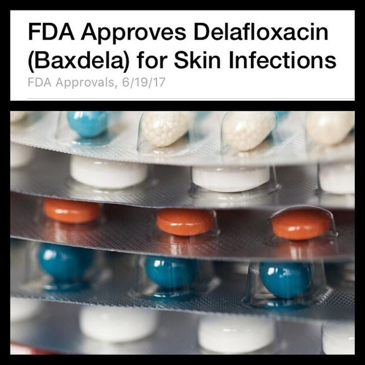 The FDA approved an antibiotic called delafloxacin (Baxdela Melinta Therapeutics)   A fluoroquinolone delafloxacin is specifically indicated in adults with acute bacterial skin and skin structure infections (ABSSSIs) caused by certain gram-positive and gram-negative pathogens including methicillin-resistant Staphylococcus aureus.   Delafloxacin is contraindicated for patients with known hypersensitivity to fluoroquinolones.  It is administered as a tablet or through intravenous infusion comes with a boxed warning --> associated with disabling and potentially irreversible adverse events such as tendinitis and tendon rupture peripheral neuropathy and central nervous system effects. Clinicians should discontinue the use of delafloxacin if patients experience these adverse events. (Credit:  Medscape) #Antibiotic #FDA #NewDrug #Fluoroquinolone #Delafloxacin