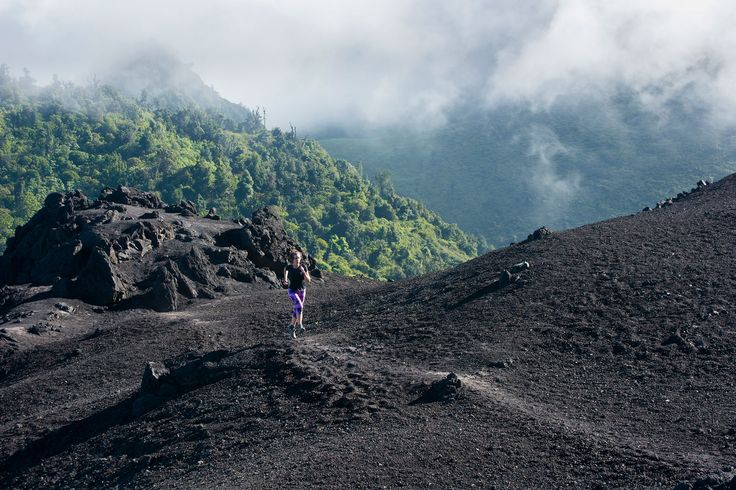 Picture of a runner on Pacaya Volcano, Guatemala
