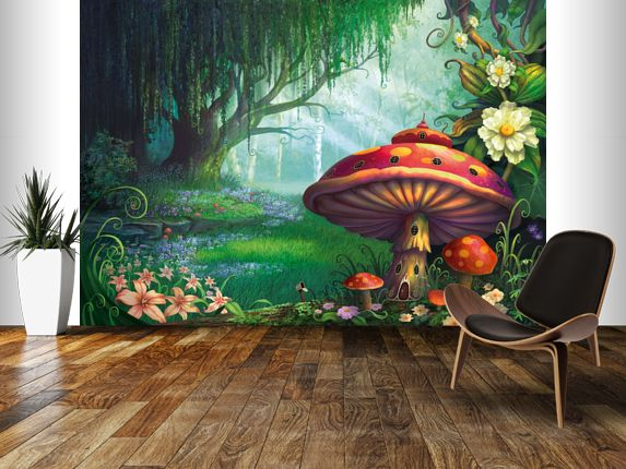 Enchanted Forest wall mural room setting