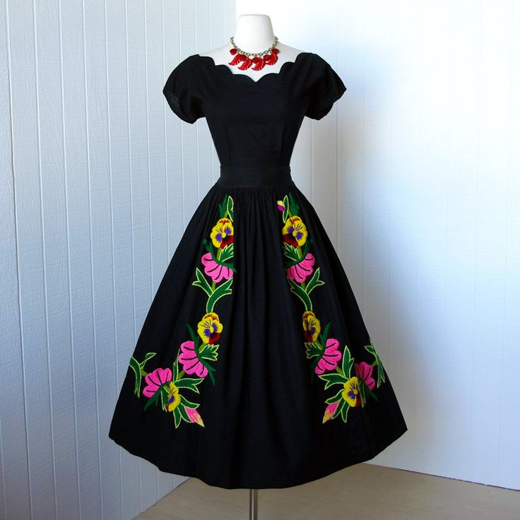 vintage 1950's dress ...beautiful black cotton MEXICAN EMBROIDERED floral 2pc pin-up dress scalloped top and skirt. $170.00, via Etsy.