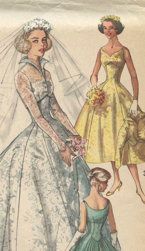 1950s simplicity 2066 vintage wedding dress pattern for Empire waist wedding dress patterns