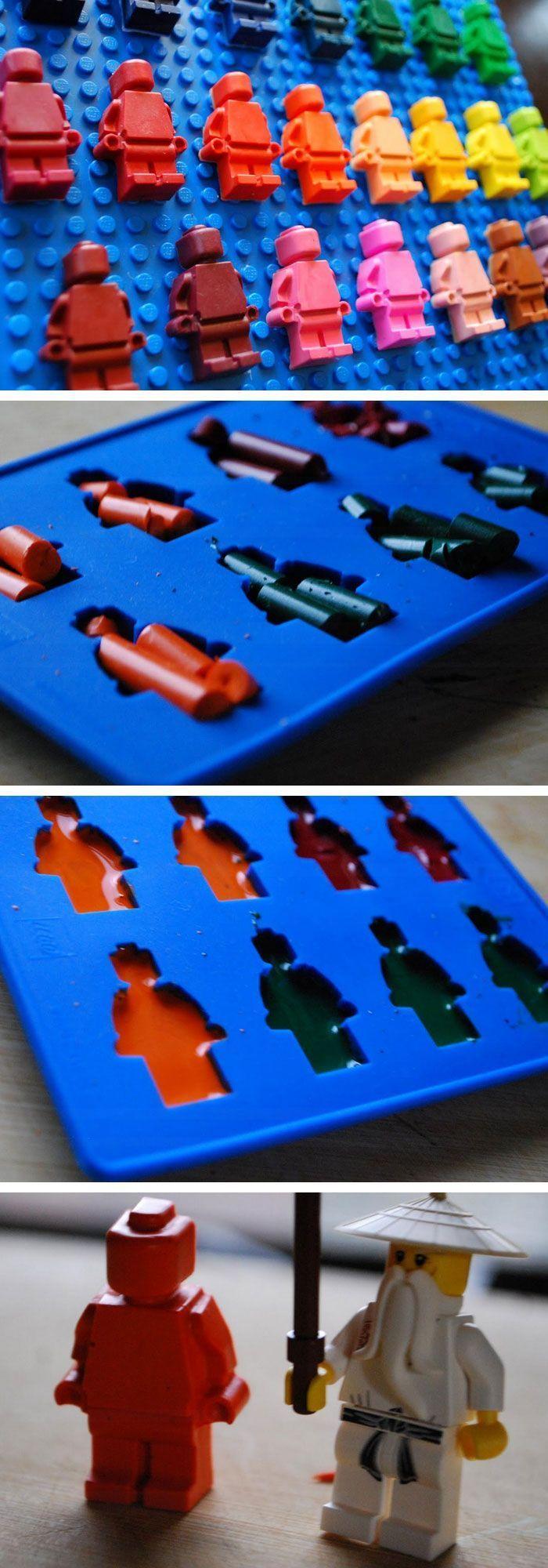 Lego Mini figure Crayons | Click Pic for 22 DIY Christmas Gifts for Kids to Make | Handmade Christmas Gifts for Boys