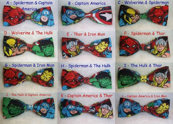 BowTies Made From Marvel Comics Fabric - Take Your Pick From 16 Great Looking Hero Bow Ties, Choose Your Favorite Characters - SHIPPING 1.95. $13.75, via Etsy.