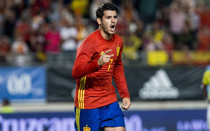 Download wallpapers Alvaro Morata, footballers, Spanish National Team, match, soccer, football