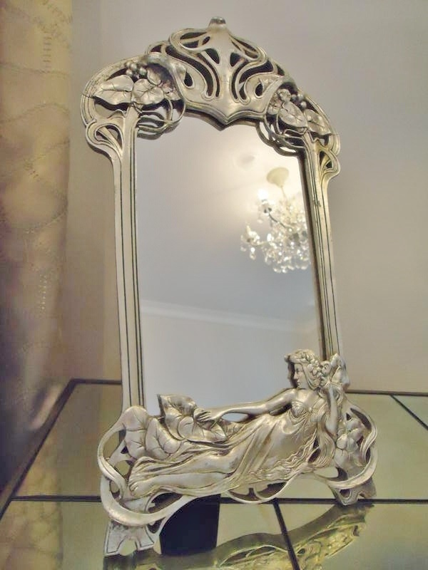 Silver Art Nouveau Design Easel /Table/ Vanity Mirror