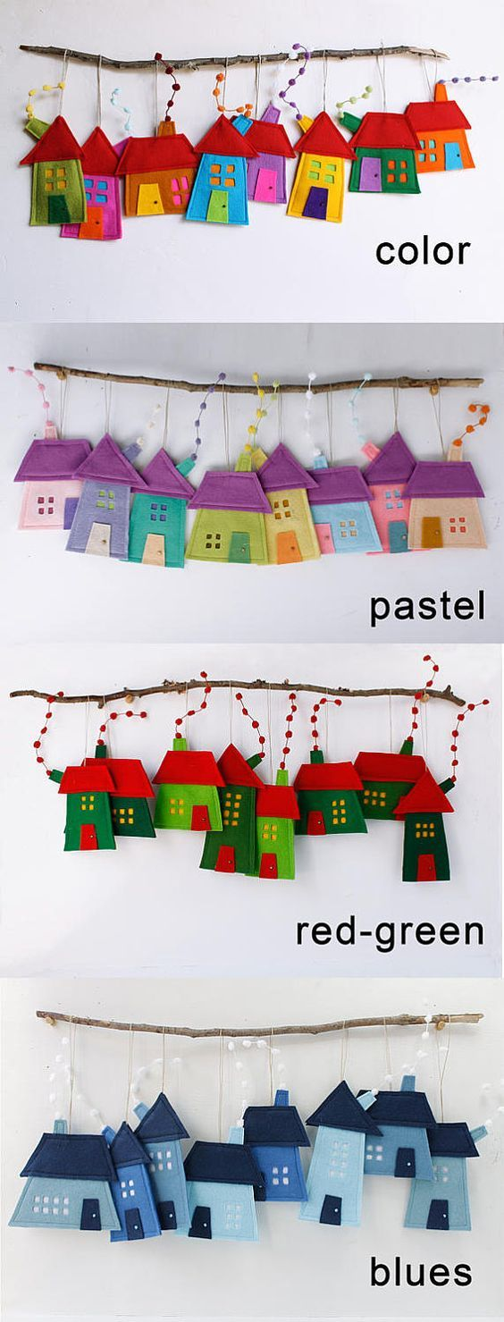 House ornaments Decoration, Set of eight Felt Houses for wall hanging, Christmas ornament gift for everyone, kids wall art, Rainbow colors – ferya balkan